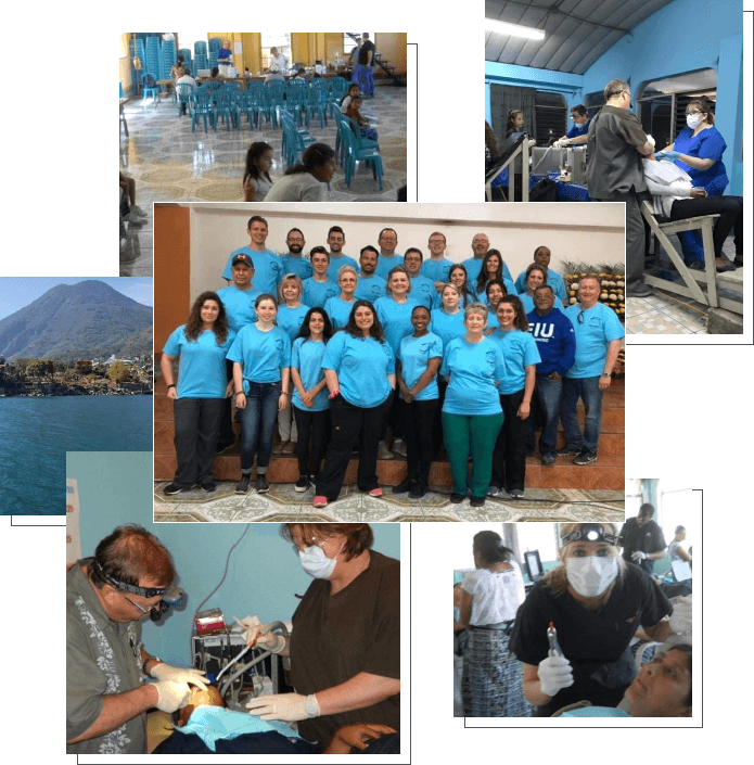 Collage of photos of Doctor Whitmore and his team volunteering in the community